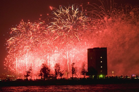 Holland Tunnel and 4th of July fireworks. Photo by Alina Oswald.
