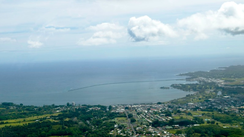 Aerial photograph of Hilo, Hawaii. Photo taken from a no-door helicopter.