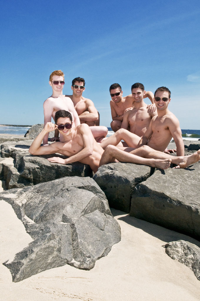 The cast of Naked Boys Singing (cover) photographed for Out IN Jersey Magazine