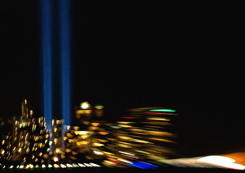 9/11 Tribute Lights. Lensbaby Photography by Alina Oswald.