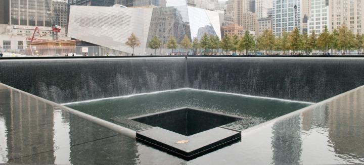 Rain over 9/11 Memorial, NYC. Photo by Alina Oswald.
