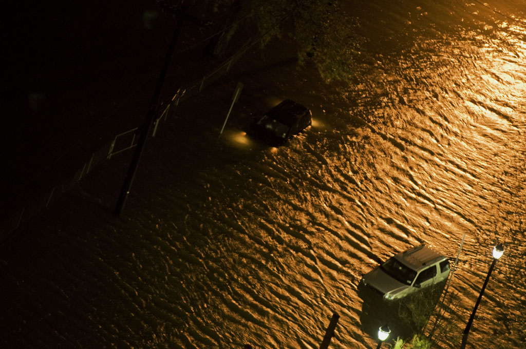 Flooded street during Hurricane Sandy. Photo by Alina Oswald.
