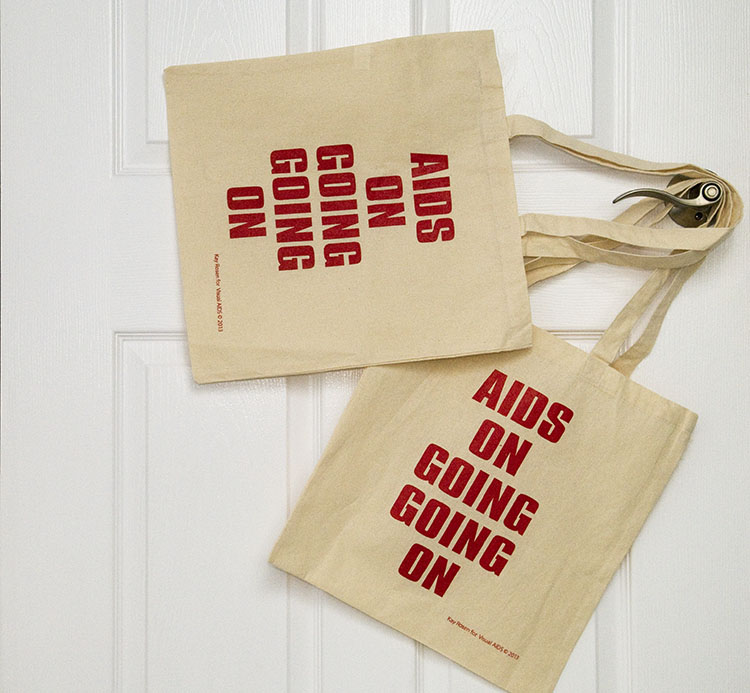 AIDS ON GOING GOING ON bags designed by Kay Rosen for Visual AID