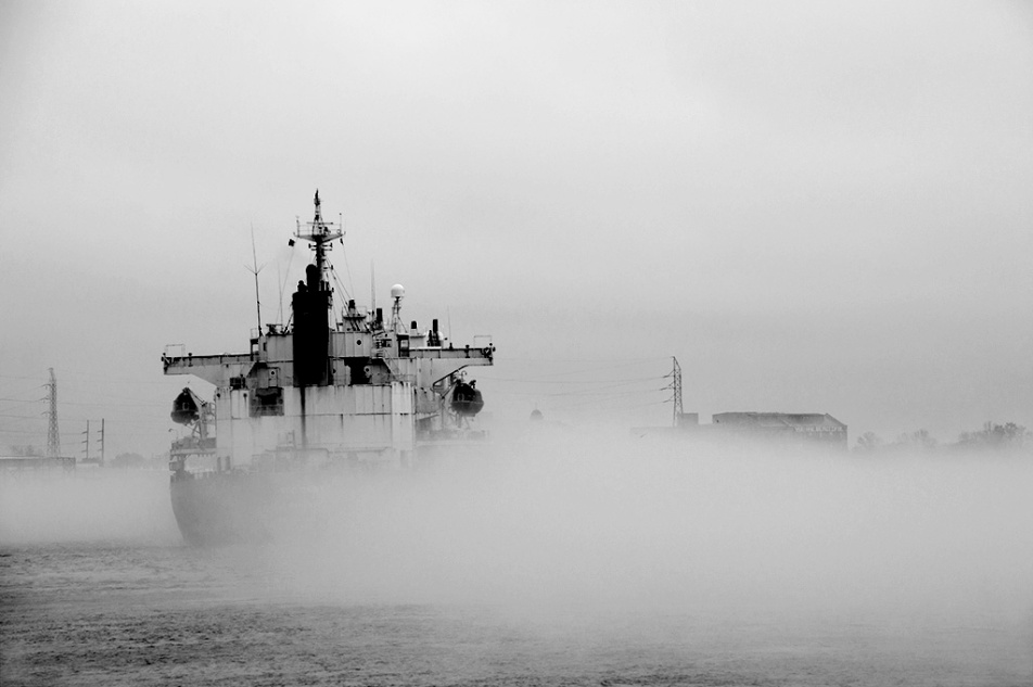 Ship sailing through fog. New Orleans, La. Photo ©Alina Oswald.