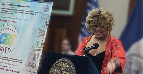 Ron B gives the opening remarks at the Celebration of LGBT Pride, at City Hall, NYC