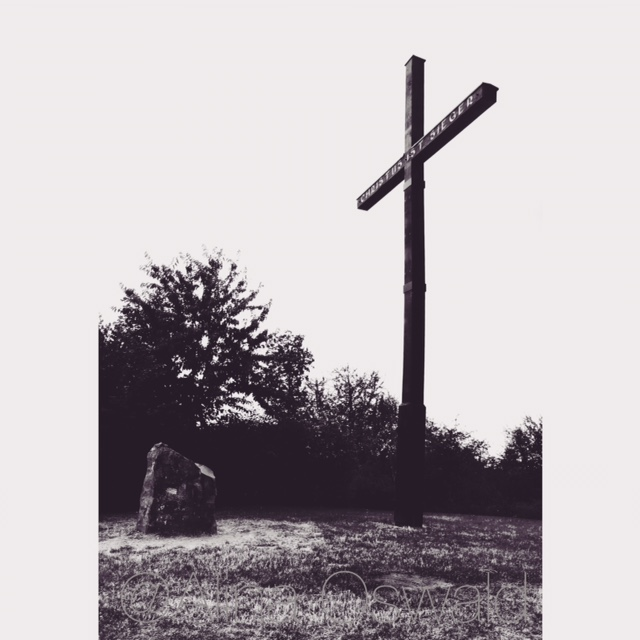 Black-and-white image of The Cross, in Rossdorf, Germany