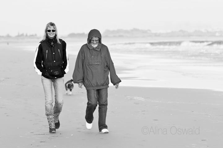 Walking down the beach.