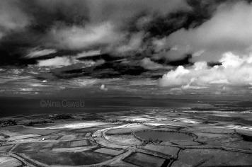 Black-and-white aerial photo of Hawaii. ©Alina Oswald.