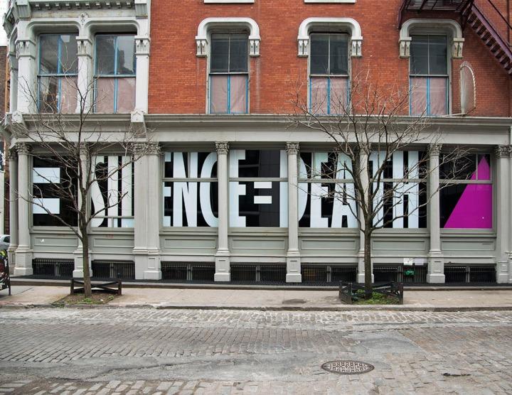 Silence = Death facade at Leslie-Lohman Museum