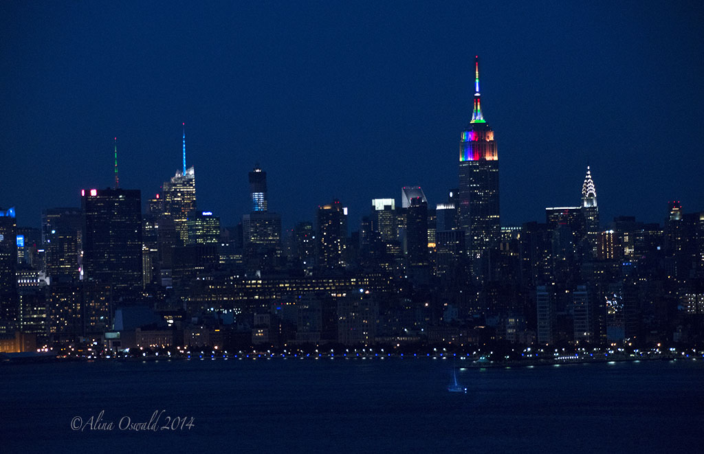 NYC Skyline. Pride Night 2014. Photo by Alina Oswald.