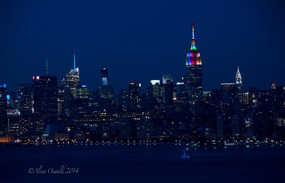 NYC Skyline. Pride Night 2014. Photo by Alina Oswald.