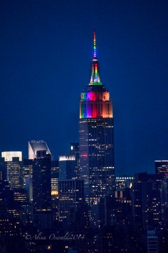 The Empire State Building turn rainbow for NYC Pride 2014.