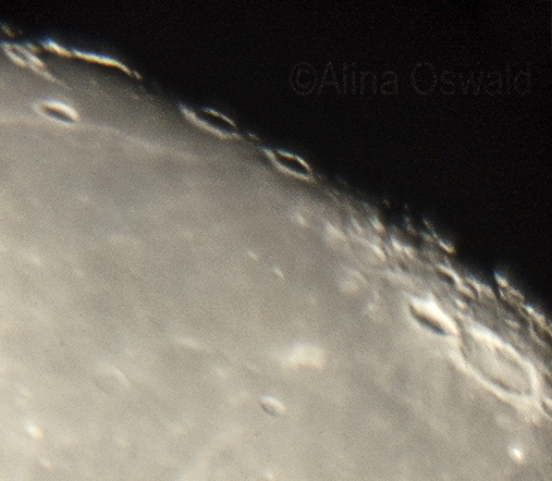 Moon surface as seen through the telescope. Photo by Alina Oswald.