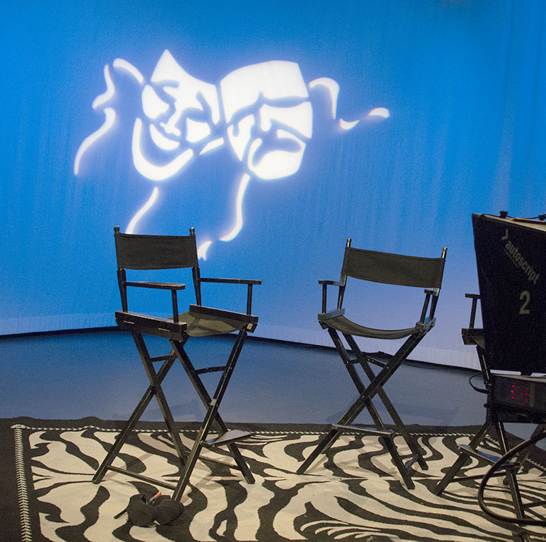Chairs and camera on the set of No Boundaries at MNN, in NYC. Photo by Alina Oswald.