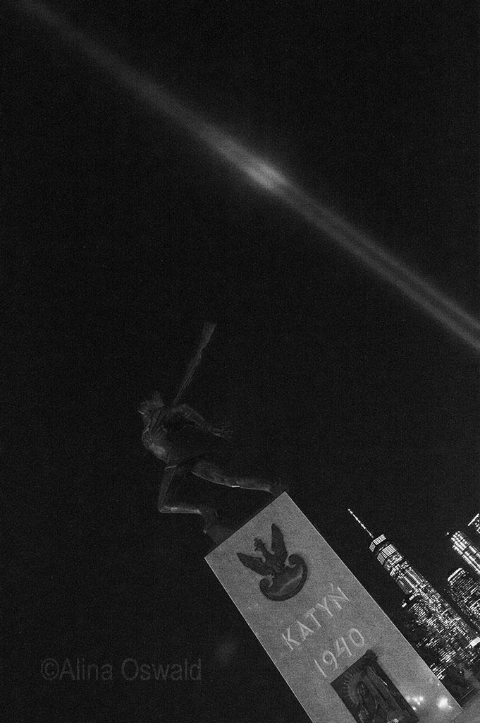 Katyn Memorial and 9/11 Tribute Lights. ©Alina Oswald.