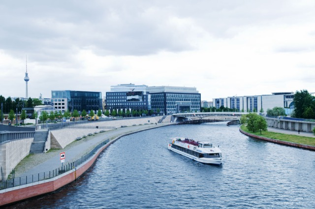 Berlin Cityscape: DB train station, TV Tower, and the Spree River. Copyright 2010 by Alina Oswald. All Rights Reserved.