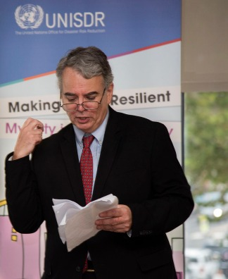 RJC President, Simon Pereira Shorey speaking at Resilient JC launch event. Photo by Alina Oswald.