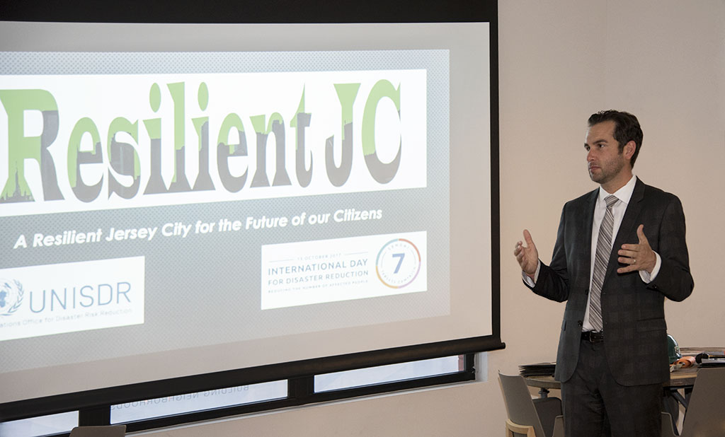 Jersey City Mayor Fulop speaking at Resilient JC launch event. Photos by Alina Oswald. All Rights Reserved. Logo design by Alina Oswald.