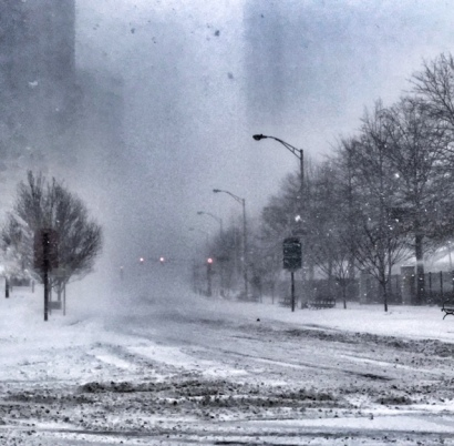 """Snowstorm """"Bomb Cyclone"""" 2018 in Jersey City. Photo by Alina Oswald."""