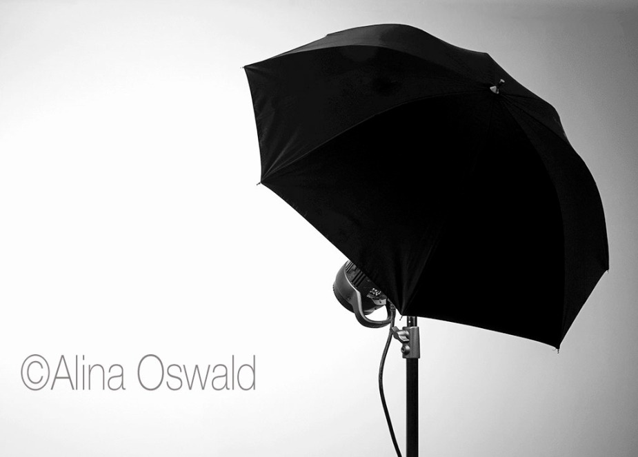 Umbrella on a Stand. Studio Lighting Gear. Photo by Alina Oswald.