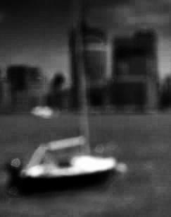 Sailboat. Pinhole Photo by Alina Oswald. B&W Photography.