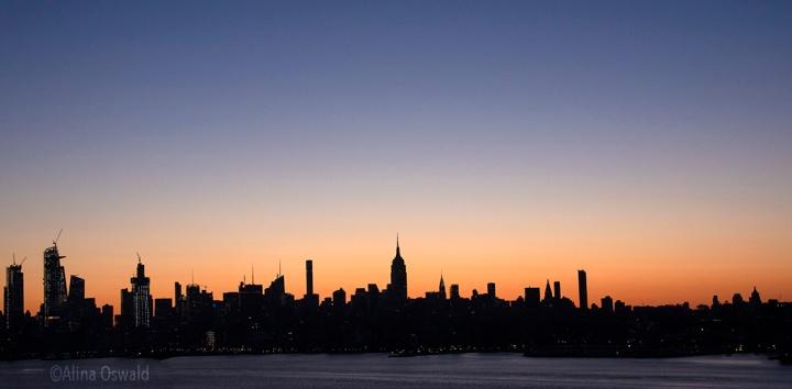 NYC skyline at sunrise.