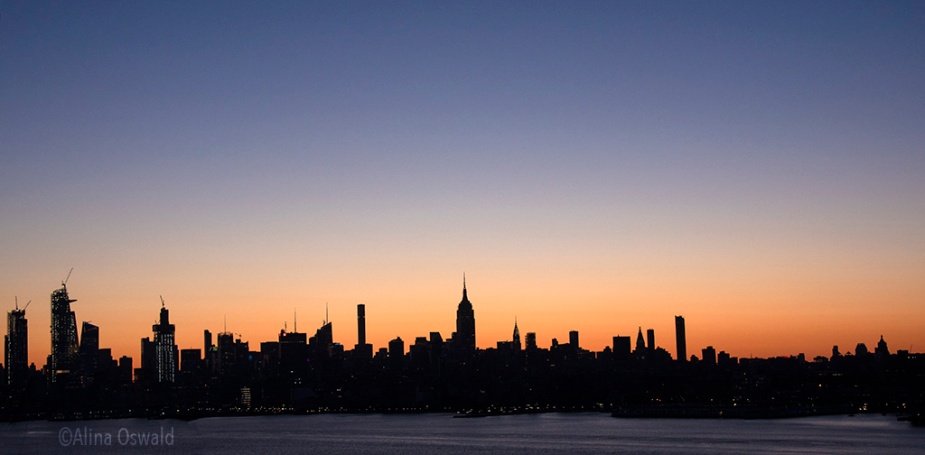 NYC skyline at sunrise.