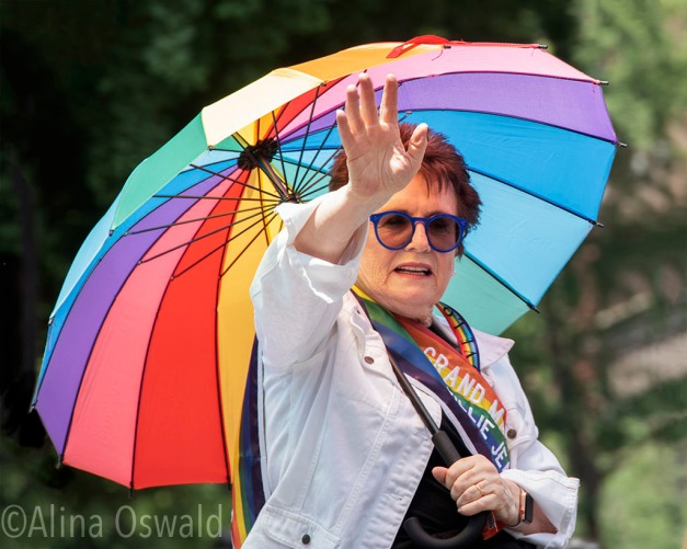 Photographing Billie Jean King at NYC Pride March 2018. Photo by Alina Oswald.