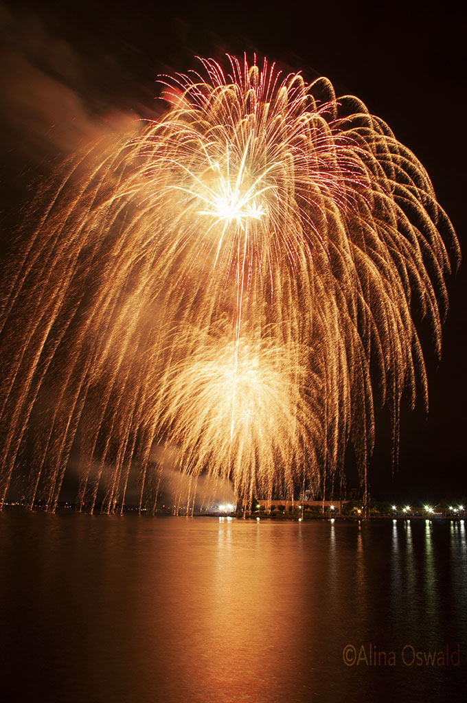 Fireworks reflections. Photo by Alina Oswald. All Rights Reserved.