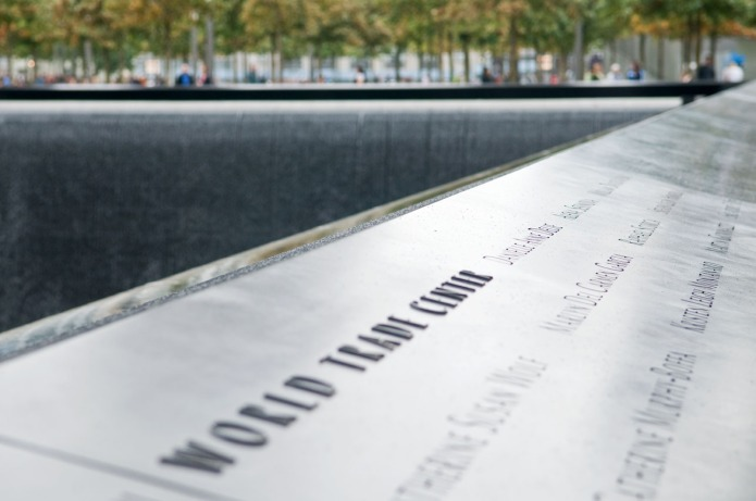 9/11 Memorial at Ground Zero, Lower Manhattan, on a rainy day. Photo by Alina Oswald.