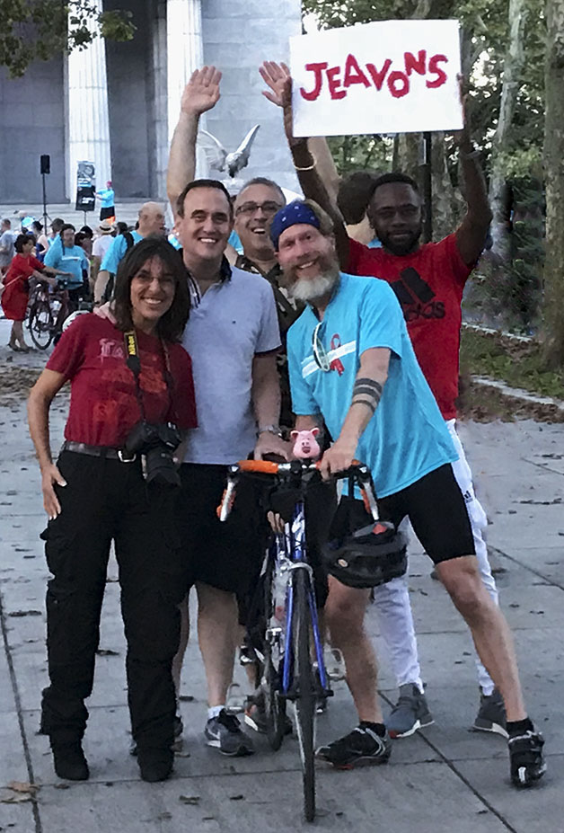 """""""Friends Will Be Friends"""" group shot by yet another friend at the closing ceremony of #BrakingAIDSRide2018 in NYC."""