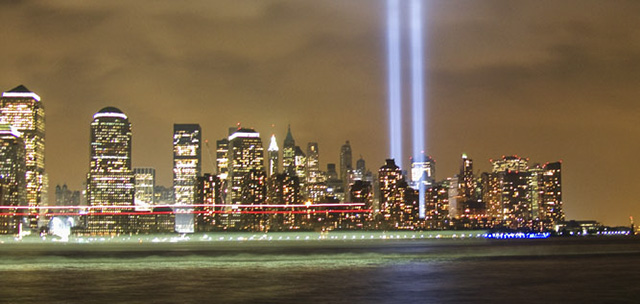 Lower Manhattan skyline and Tribute in Light photographed from Jersey City waterfront on Sep 11, 2007. Photo by Alina Oswald. All Rights Reserved.