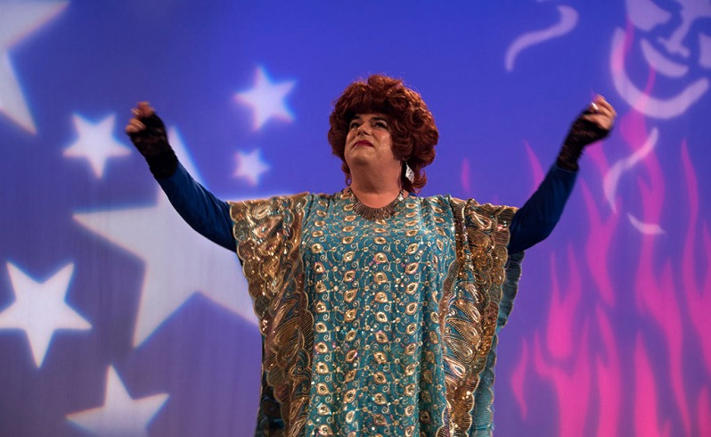 Rev. Yolanda performing on Ron B's show, No Boundaries Up Close and Personal, at MNN, in NYC. ©Alina Oswald.