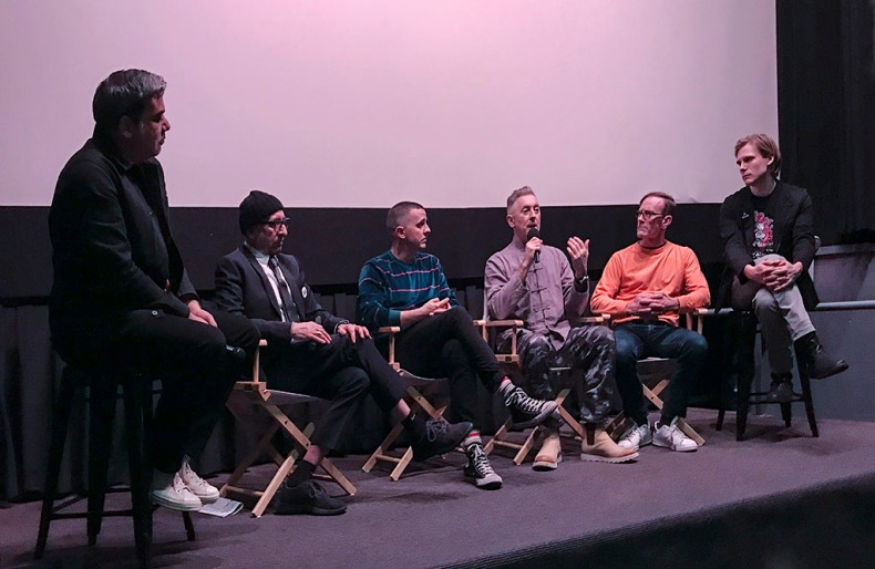 Panel discussion after the NYC premier of After Louie. On the panel, L-R: moderator Eugene Hernandez, director Vincent Gagliostro, cast members: Anthony Johnston (he also co-wrote After Louie with Gagliostro), Alan Cumming, David Drake (played William Wilson) , Zackary Booth. Photo by Alina Oswald.