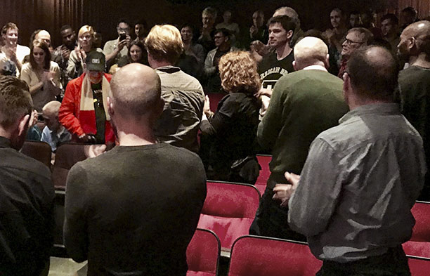 Larry Kramer (in red) attends the premier of After Louie, in NYC. Photo by Alina Oswald.