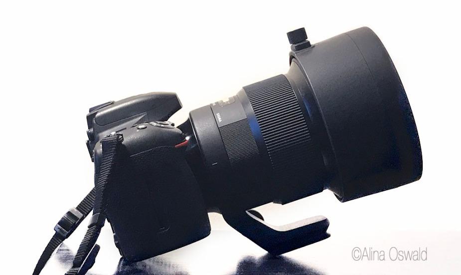 Sigma 105mm f/1.4 for Nikon on tripod. Photo by Alina Oswald.