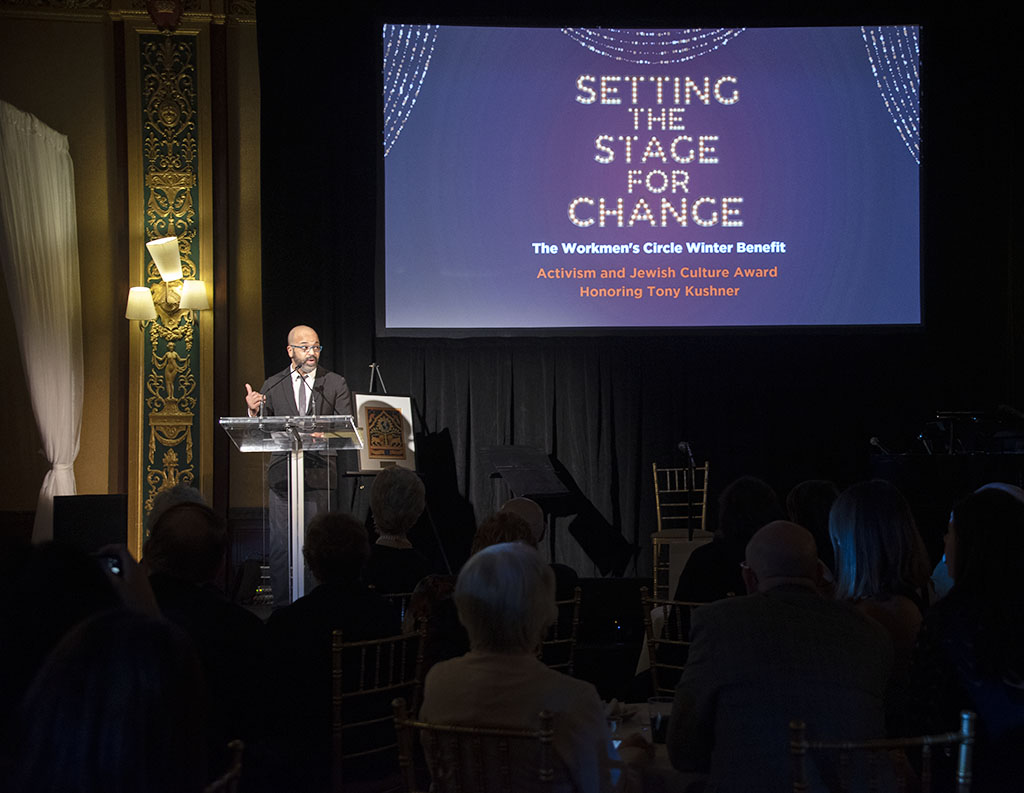 Actor Jeffrey Wright introducing Tony Kushner at Worksmen's Circle awarded ceremony. Tony Kushner received the Workmen's (now Workers) Circle Activism Award on December 10, 2018, in NYC. Photographed for Out IN Jersey Magazine. ©Alina Oswald. All Rights Reserved.