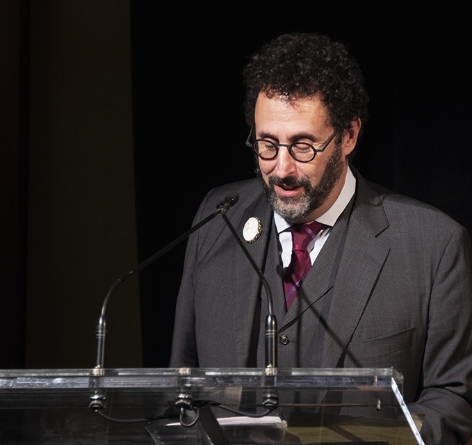 Tony Kushner awarded at Workmen's Circle winter benefit. Photo by Alina Oswald.
