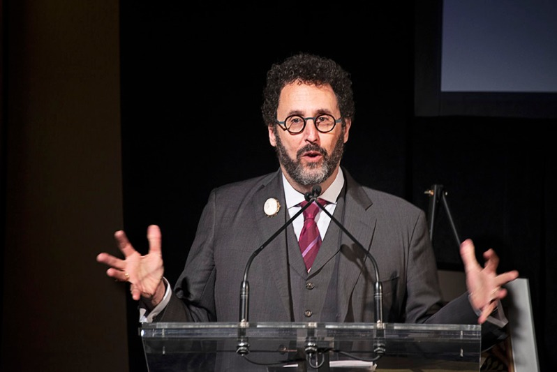 Playwright Tony Kushner receives the Activism and Jewish Culture Award on December 10, 2018, in NYC, at the Worker's Circle winter benefit.