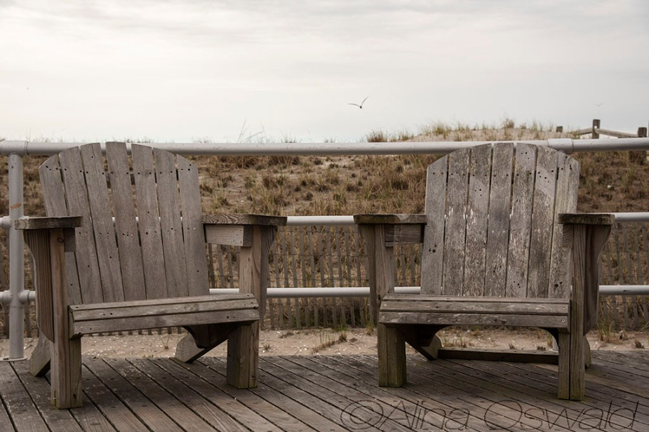 Wooden Chairs on Atlantic City Boardwalk. Photo by Alina Oswald.