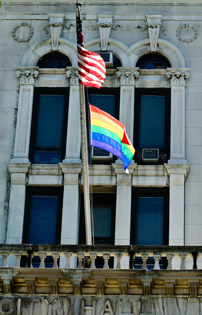 JC Pride: Rainbow flag at JC City Hall. Photo by Alina Oswald. All Rights Reserved.