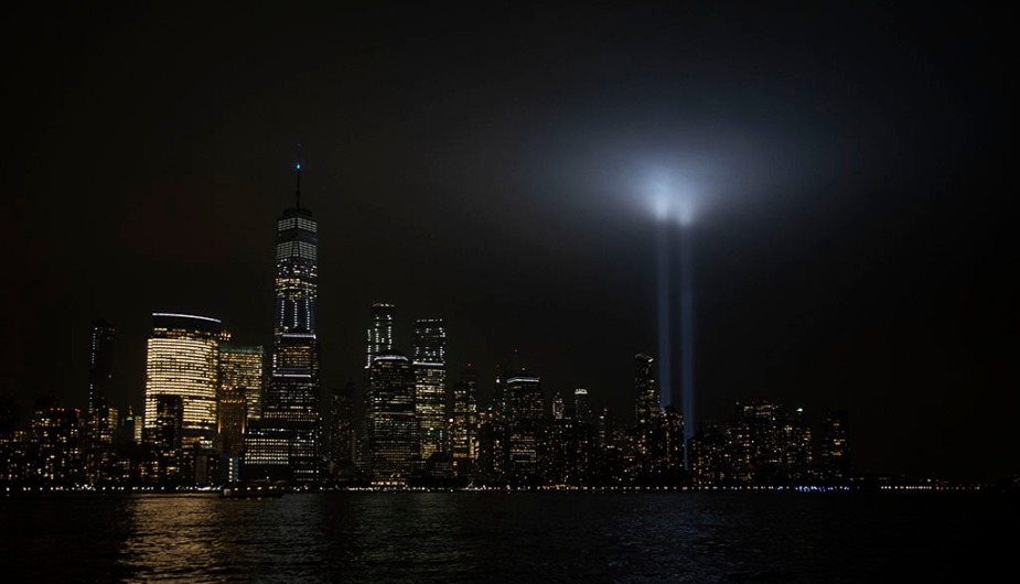 9/11 Tribute Lights in Lower Manhattan. Photo by Alina Oswald.