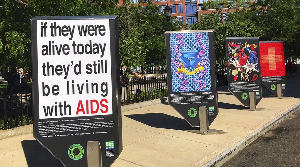 Visual Impact: On Art, AIDS, and Activism, a public art installation displaying eight symbolic AIDS activist artworks, including my favorites, Undetectable and in particular Silence = Death. Photo by Alina Oswald.
