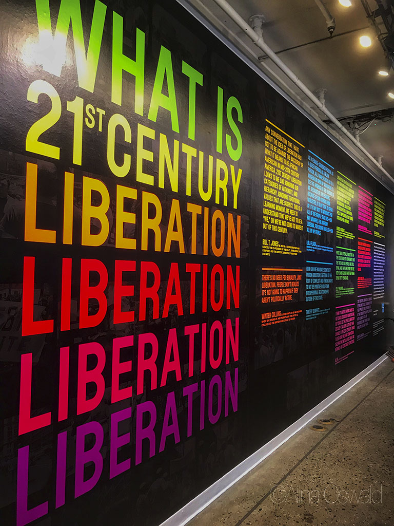 June 6, 2019: Visual AIDS What Is 21st Century Liberation? installation opening party at New York Live Arts. Avram Finkelstein and Rodrigo Moreira designed the What Is 21st Century Liberation broadsheet for Visual AIDS in conjunction with the 50th annivesary of Stonewall Riots.