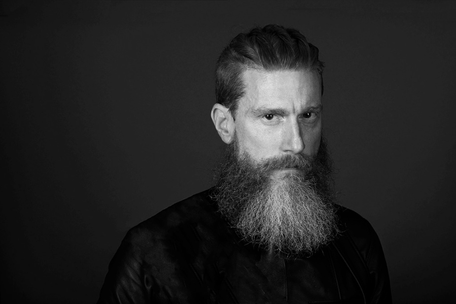 Man with Beard. Black-and-white portrait by Alina Oswald.