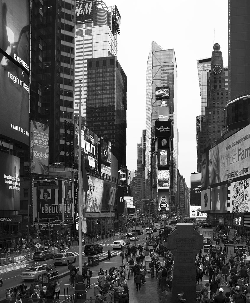 Times Square in black and white. Photo by Alina Oswald.
