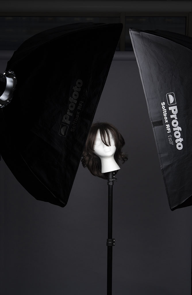 Example of home studio setup for self-portrait photo session and/or lighting testing