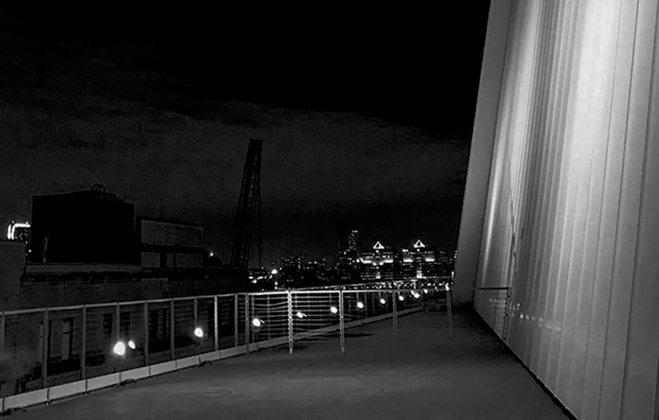 Night Jersey views in black and white, as seen from The Whitney Museum, in NYC. Photo by Alina Oswald.