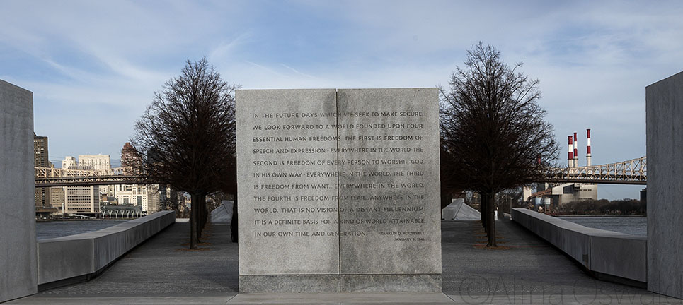 FDR's Four Freedoms. The Four Freedoms Park. Roosevelt Island, NYC. Photo by Alina Oswald. All Rights Reserved.