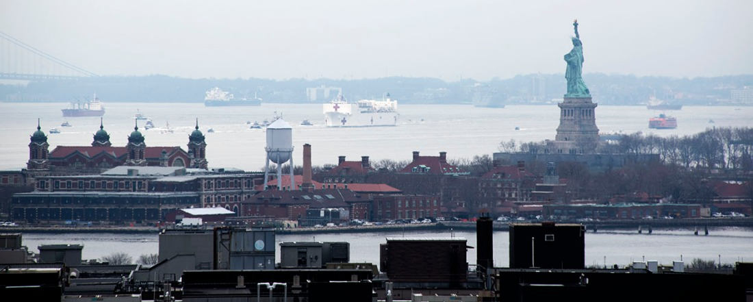 Comfort, the hospital navy ship arrives in NYC for relief with COVID-19. It will take care of non-COVID-19 patients.